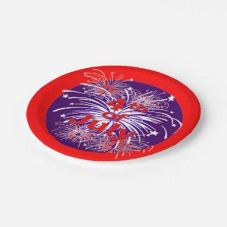 del 4 fuegos artificiales rojos, blancos y azules platos de papel