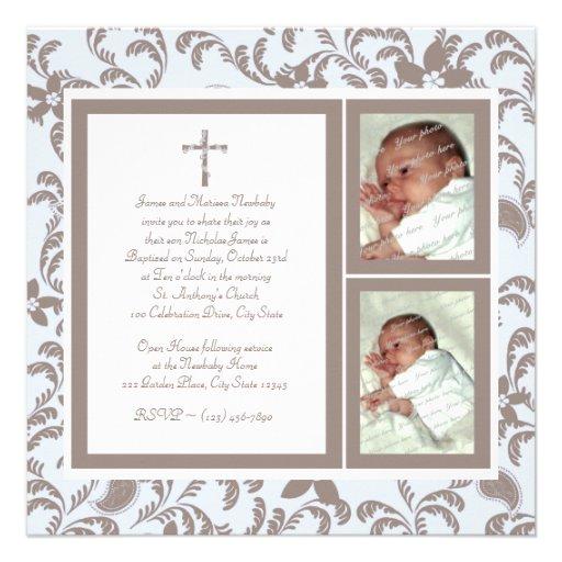 Del bautizo azul suavemente y foto de Brown Paisle Invitación