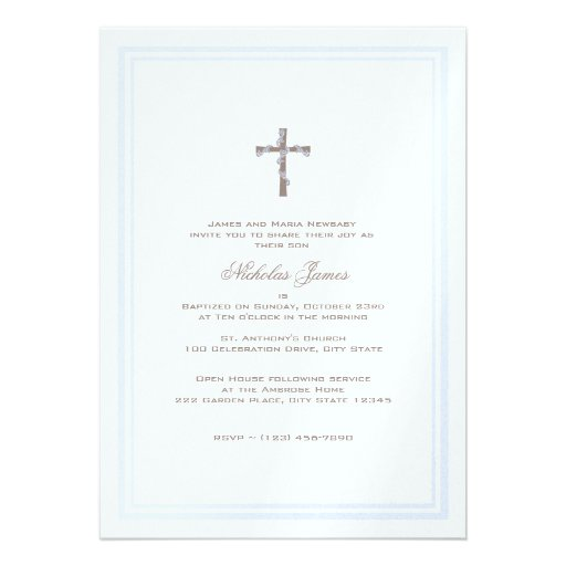 Del bautizo azul y Brown suavemente Anuncio
