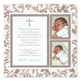 Del bautizo rosa suavemente y foto de Brown Invitación 13,3 Cm X 13,3cm