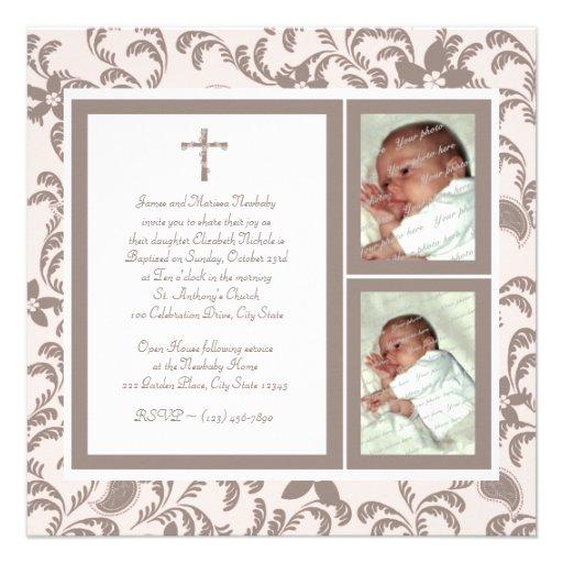 Del bautizo rosa suavemente y foto de Brown Paisle Invitación Personalizada