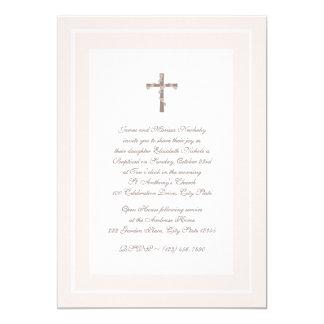 Del bautizo rosa y Brown suavemente Invitación 12,7 X 17,8 Cm