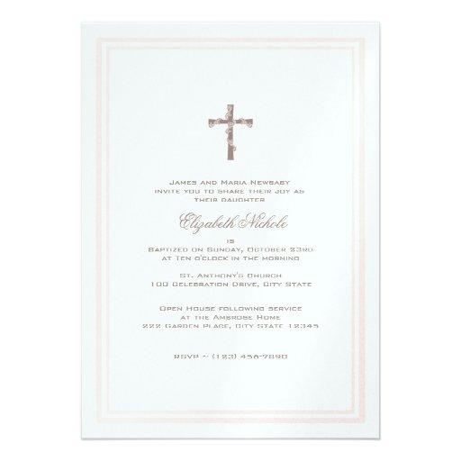 Del bautizo rosa y Brown suavemente Invitacion Personalizada