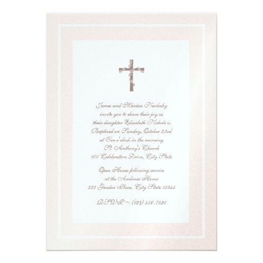 Del bautizo rosa y Brown suavemente Comunicado Personalizado