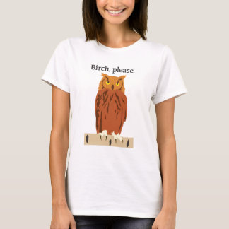 Del búho del abedul la camiseta de las mujeres por