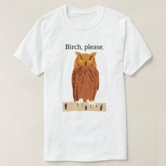 Del búho del abedul la camiseta de los hombres por