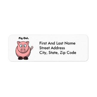 Del cerdo dibujo animado guarro hacia fuera o del etiqueta de remite