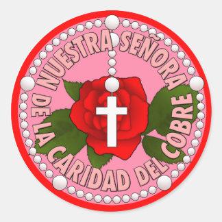 Del Cobre de Señora de la Caridad Pegatina Redonda
