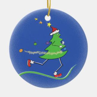 © del corredor del árbol de navidad adorno navideño redondo de cerámica