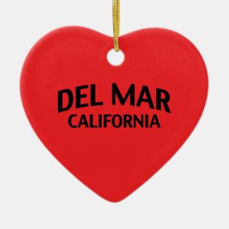 Del Mar California Adorno Navideño De Cerámica En Forma De Corazón
