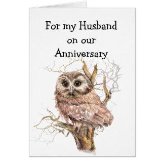 Del marido del aniversario del búho amor siempre tarjeta de felicitación