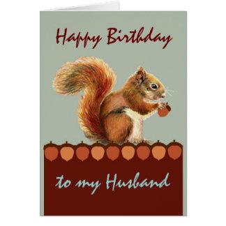 Del marido todavía del cumpleaños nueces sobre ust tarjeta de felicitación