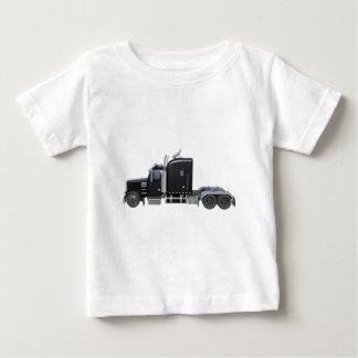 Del negro camión semi con las luces completas en camiseta de bebé