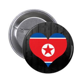 Del norte+Bandera de Corea coloreada Chapa Redonda 5 Cm