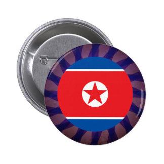 Del norte+Recuerdo coreano de la bandera Chapa Redonda 5 Cm