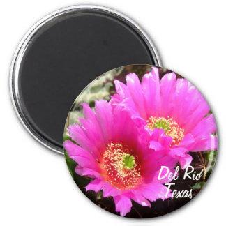 Del Rio Texas souvenirs pink cactus flower Fridge Magnets
