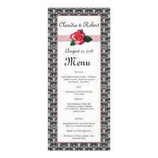 Del rosa blanco del damasco menú negro del boda, r anuncio