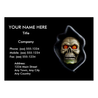 ~ del SEGADOR (diseño del cráneo de Halloween) Tarjetas De Visita Grandes