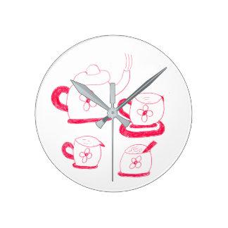 Del té del tiempo reloj de pared alrededor