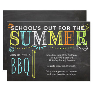 Del verano del fiesta del Invitación-School el Bbq Invitación 12,7 X 17,8 Cm