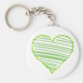 Del verde corazón 1 scribbly llavero redondo tipo chapa