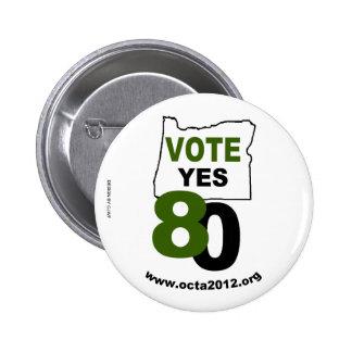 Del voto medida 80 de Oregon sí Chapa Redonda De 5 Cm