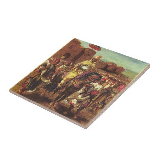 Delacroix-Retrato de Eugene del sultán de Marrueco Tejas Ceramicas