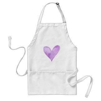 Delantal Acuarela Purple Heart, corazón de la tarjeta del