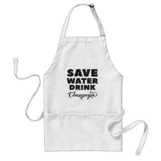 Delantal Ahorre el agua, bebida Champán