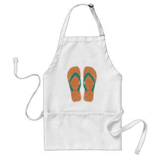 Delantal anaranjado y verde de los flips-flopes de