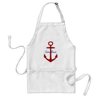 Delantal Ancla roja náutica personalizada