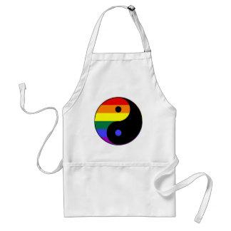 Delantal Arco iris Yin y Yang - colores del arco iris del