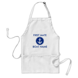 Delantal azul náutico del nombre del barco del