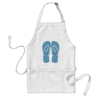 Delantal azul y blanco de los flips-flopes de la