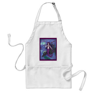 Delantal Chica púrpura de la sirena con la serpiente de mar