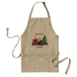 Delantal Cocinero rojo del árbol de navidad del tractor del