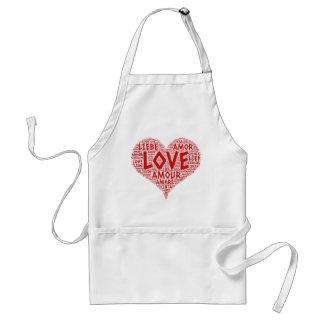 Delantal Corazón ilustrado con palabra del amor