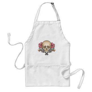 Delantal cráneo con los armas y las flores del vintage
