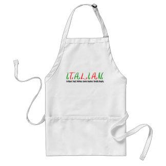 Delantal El italiano pone letras a calidades de la mujer