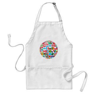 Delantal El mundo señala el globo por medio de una bandera