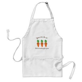 Delantal Estamos arraigando para usted zanahorias
