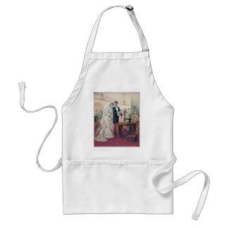 Delantal Ilustracion de novia y del novio del vintage