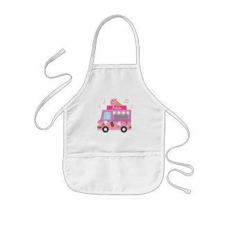 Delantal Infantil Camión rosado púrpura dulce del helado para los