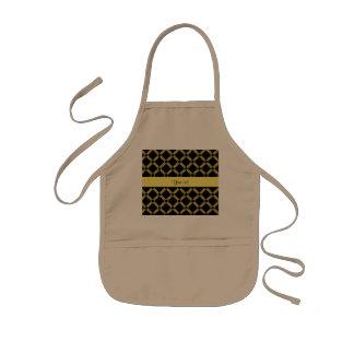 Delantal Infantil Cuadrados negros y amarillos elegantes