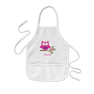 Delantal Infantil El búho lindo rosado personalizado embroma el