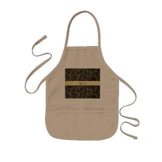 Delantal Infantil Flourishes y negro florales de oro de los