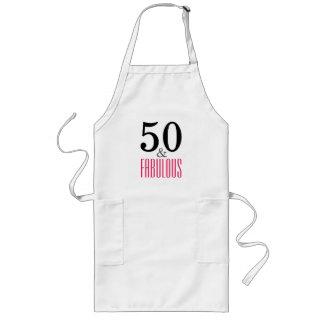 Delantal Largo 50 y cumpleaños fabuloso Aprin blanco largo