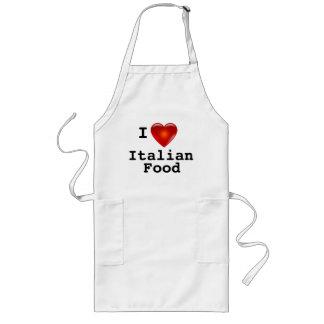 Delantal Largo Amo la comida del italiano del corazón
