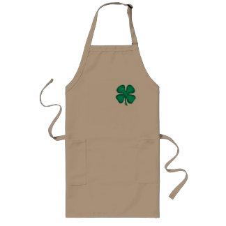 Delantal largo del cocinero del trébol irlandés