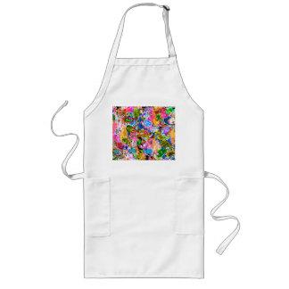 Delantal Largo Flores mezcladas abstractas coloridas lindas de